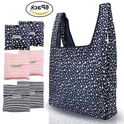 Reusable Grocery Bags 6 Pack Heavy Duty Folding Shopping Tot