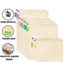 purifyou Premium Reusable Mesh/Produce Bags, Set of 9 | Raw,