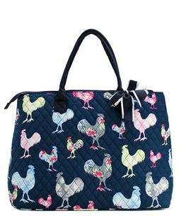 Rooster Farm NGIL® Quilted Purse Overnight/Large Tote Bag F