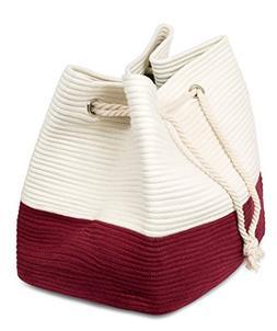 BirdRock Home Rope Handle Beach Bag | Carry Tote Bag | Large