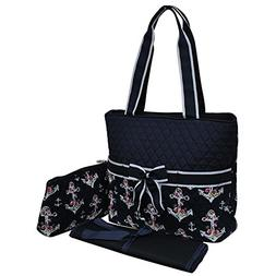 Rose Anchor NGIL Quilted 3pc Diaper Bag
