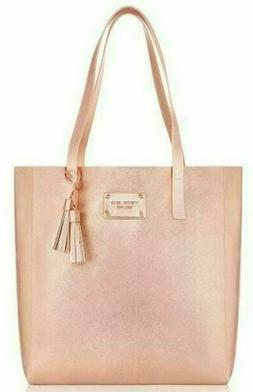 MICHAEL KORS rose gold metallic leather tote bag purse shopp