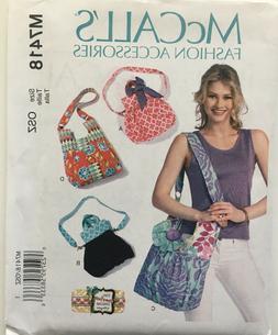 McCalls Sewing Pattern 7418 Shoulder Tote Hobo Bag Bags Purs