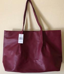 Saks 5th Ave Tote Bag Medium Size Faux Leather Burgundy GWP