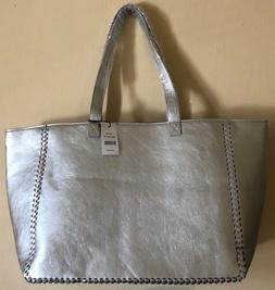 Saks 5th Ave Tote Bag Medium Size Faux Leather LARGE SILVER