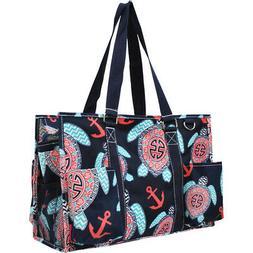 Sea Turtle Anchor NGIL® Zippered Caddy Organizer Tote Bag