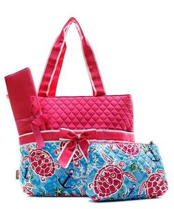 NGil Sea Turtle Quilted Diaper Bag; 3-Piece; Navy or Pink