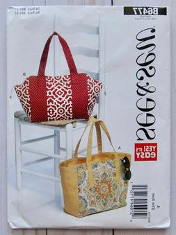 See and Sew Tote Bag Sewing Pattern B6477 New Uncut