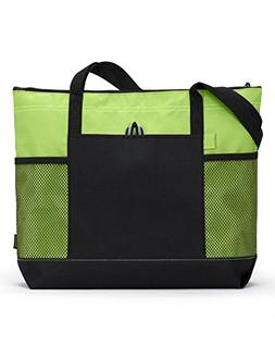 Gemline Select Zippered Tote Bag 1100 Apple Green