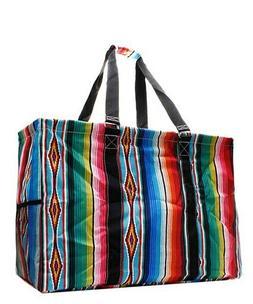 Serape Tribal Aztec NGIL Canvas Mega Zip Top Shopping Utilit