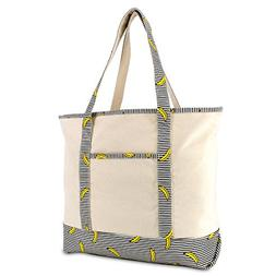 """DALIX 22"""" Shopping Tote Bag in Heavy Cotton Canvas  Striped"""