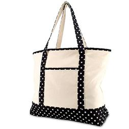 """DALIX 22"""" Shopping Tote Bag in Heavy Cotton Canvas  Black St"""
