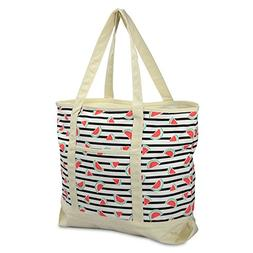 """DALIX 22"""" Shopping Tote Bag Heavy Cotton Canvas  Black Water"""