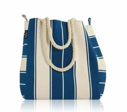 Lancome Signature Canvas Tote Bag BLUE & WHITE Strips 13 x 1