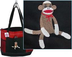 Sock Monkey & Bow Tote Bag Red Gemline Zipper Stuffed Toy An