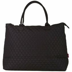 Solid Blank Black Extra Large XL Quilted Tote Bag Womens Lad