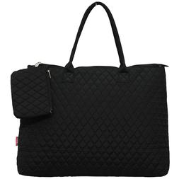 Solid Color Black NGIL® Quilted Overnight Tote Bag