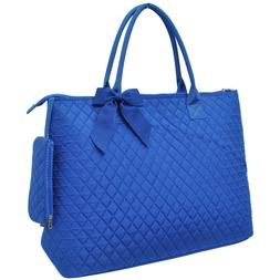 solid color royal quilted overnight tote bag