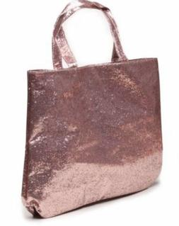 Sparkle & Co Womens Rose Gold Glitter Tote Bag Business Lapt