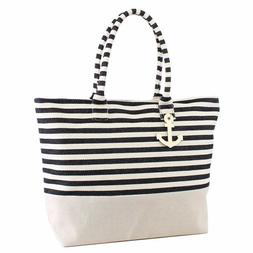 ST22 Large Zipper Top Black Stripe Print Canvas Anchor Tote