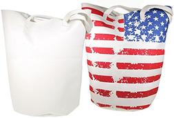 Worthy Stars And Stripes Jumbo Bucket Canvas Tote