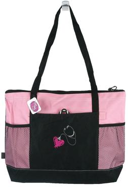 Stethoscope & Heart Gemline Select Zippered Tote Bag Medical