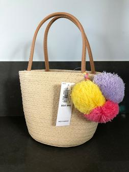 Old Navy Straw Pom Pom Tote Bag For Girls