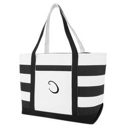 DALIX Striped Beach Bag Tote Bags Satchel Personalized Black