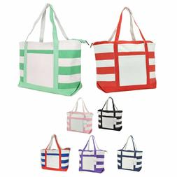 DALIX Striped Boat Bag Premium Cotton Canvas Tote Shopping B