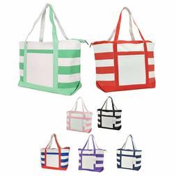 DALIX Striped Boat Bag Premium Cotton Canvas Tote Shopping B