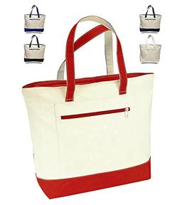 "18"" Stylish Canvas Zippered Tote Bag w/Zipper Front Pocket P"