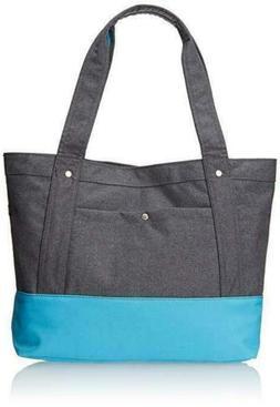 Everest Stylish Tablet Tote Bag - Charcoal / Blue