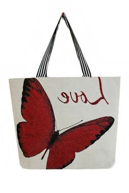 SUMMER BEACH CANVAS TOTE BAGS WITH VARIOUS BUTTERFLY PRINTED
