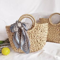 Summer Women Retro Wicker Handbag Bags Totes Beach Straw Rat