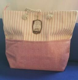 Sun n' Sand Large Pink and Cream Beach Tote Bag Rope Strap Z