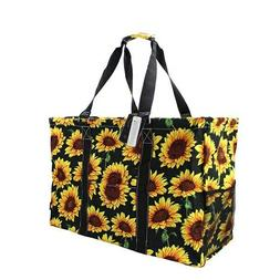 Sunflower NGIL Canvas Mega Zip Top Shopping Utility Tote Bag
