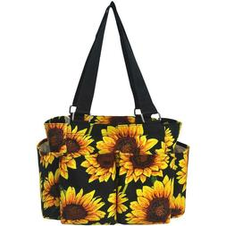 Sunflower Floral NEW NGIL Small Zippered canvas purse Caddy