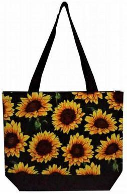Super Cute Canvas Sunflower Print Tote Bag-Monogram Included