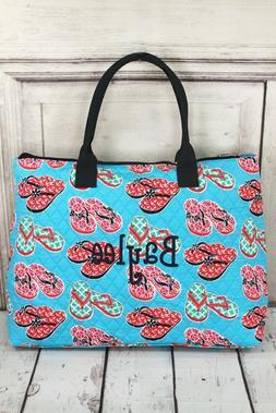 NGIL Super Cute Flip Flop Print Large Overnight Tote Bag-Mon