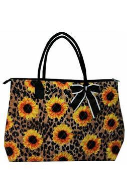 NGIL Super Cute Leopard Sunflower Large Overnight Tote Bag-M