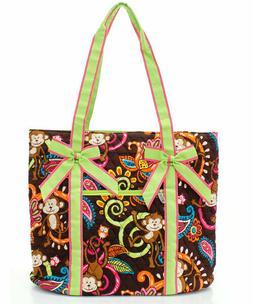 NGIL Super Cute Monkey Island w/Lime Trim Tote Bag -Monogram