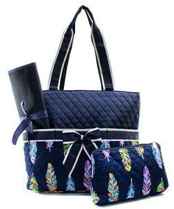 NGIL Super Cute Navy Feather Print Diaper Bag-Monogram Inclu