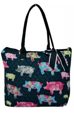 NGIL Super Cute Pig Print Tote Bag-Monogram Included
