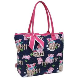NGIL Super Cute Pig Print w/Pink Trim Tote Bag-Monogram Incl