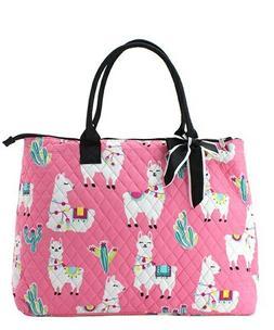 NGIL Super Cute Pink Llama Large Overnight Tote Bag-Monogram