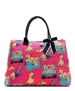 NGIL Super Cute Puppy Large Overnight Tote Bag-Monogram Incl