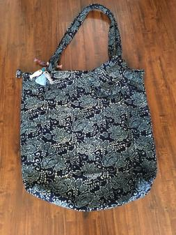 Super Large XXL Handmade Floral Tote Bag Set Fish Tassel Blu
