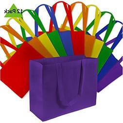 """16x6x12"""" 12 Pcs. Large Multi Color Reusable Grocery Bags, Sh"""