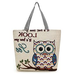 Thick Canvas Tote Bag Cute Embroidered Owl Handbag Big Capac