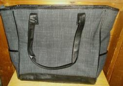 Thirty One Gift Cindy Tote Bag in Charcoal Crosshatch ~ Only